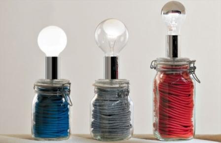 Lampada Barattolo Vetro : Lampada con filo colorato