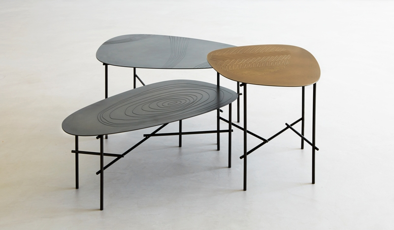 Trittico di tavolini Syro di Emilio Nanni per De Castelli