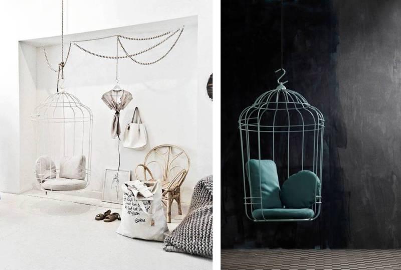 La seduta, che può essere utilizzata sia in interni che in esterni, è un luogo romantico che esprime un messaggio di libertà. La gabbia protegge senza per questo imprigionare.