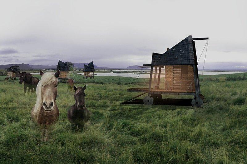 cabin on wheels opposite office